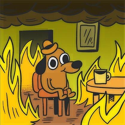 """Создать мем """"криптовалюта мемы с собакой в горящем доме, собака it ..."""